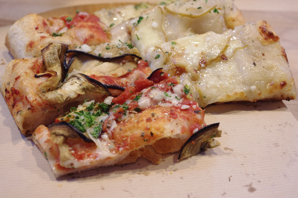 Half-eggplant, half truffle cream with potato pizza from Al Taglio in Paris. Photo by alphacityguides.
