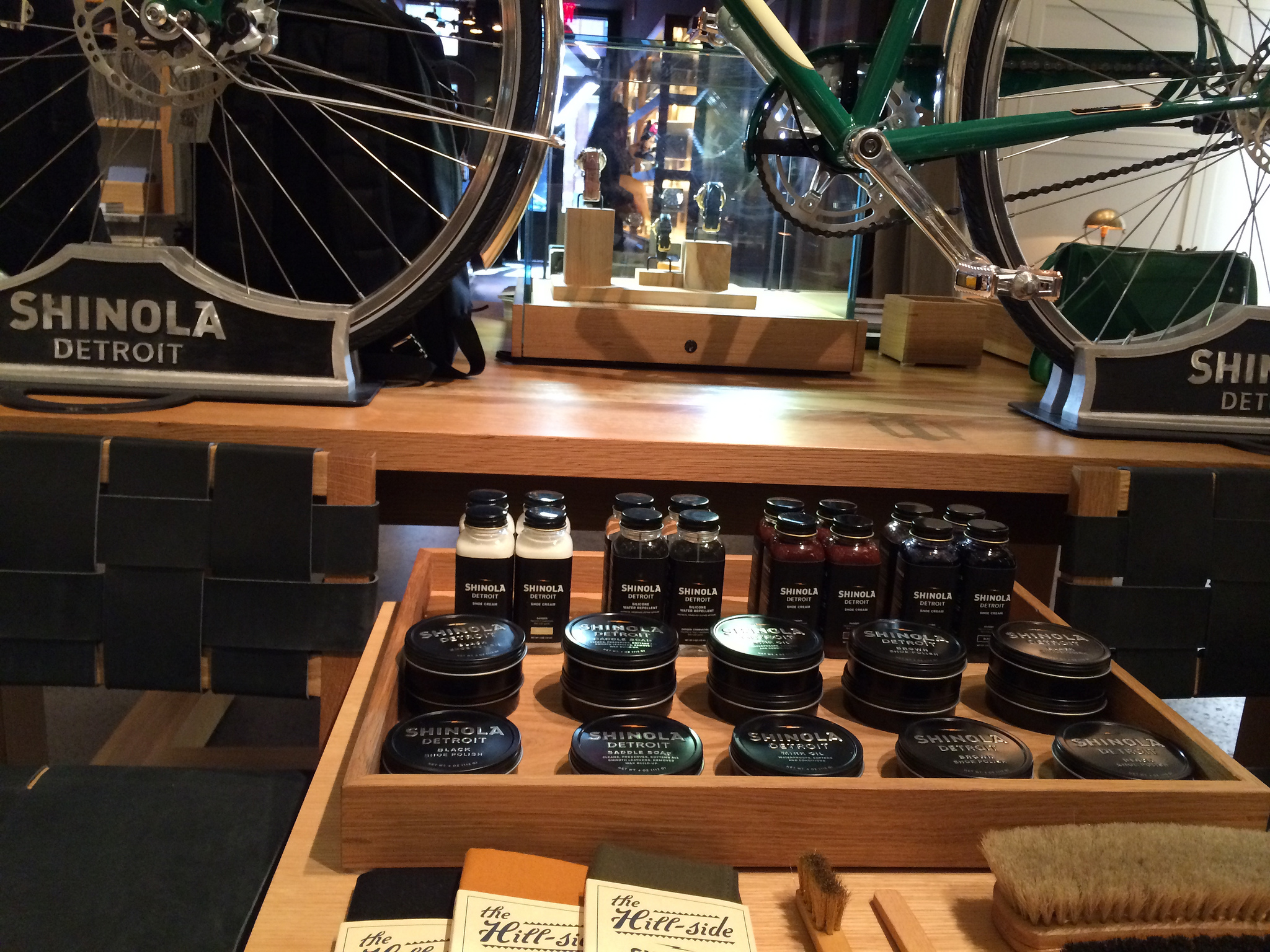 Saddle soap and Shinola bike at Shinola in New York. Photo by alphacityguides.