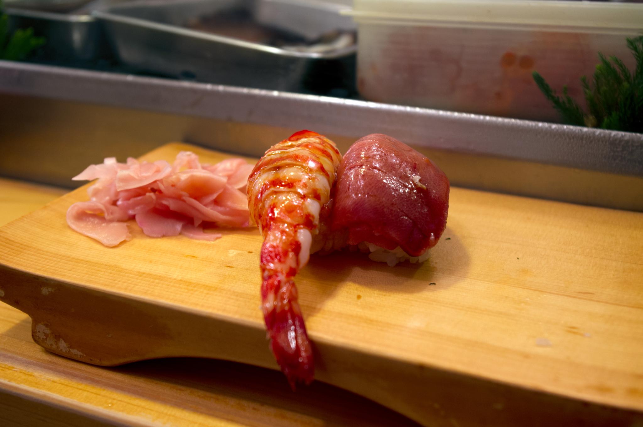 Sushi at Daiwa Sushi in Tokyo. Photo by alphacityguides.