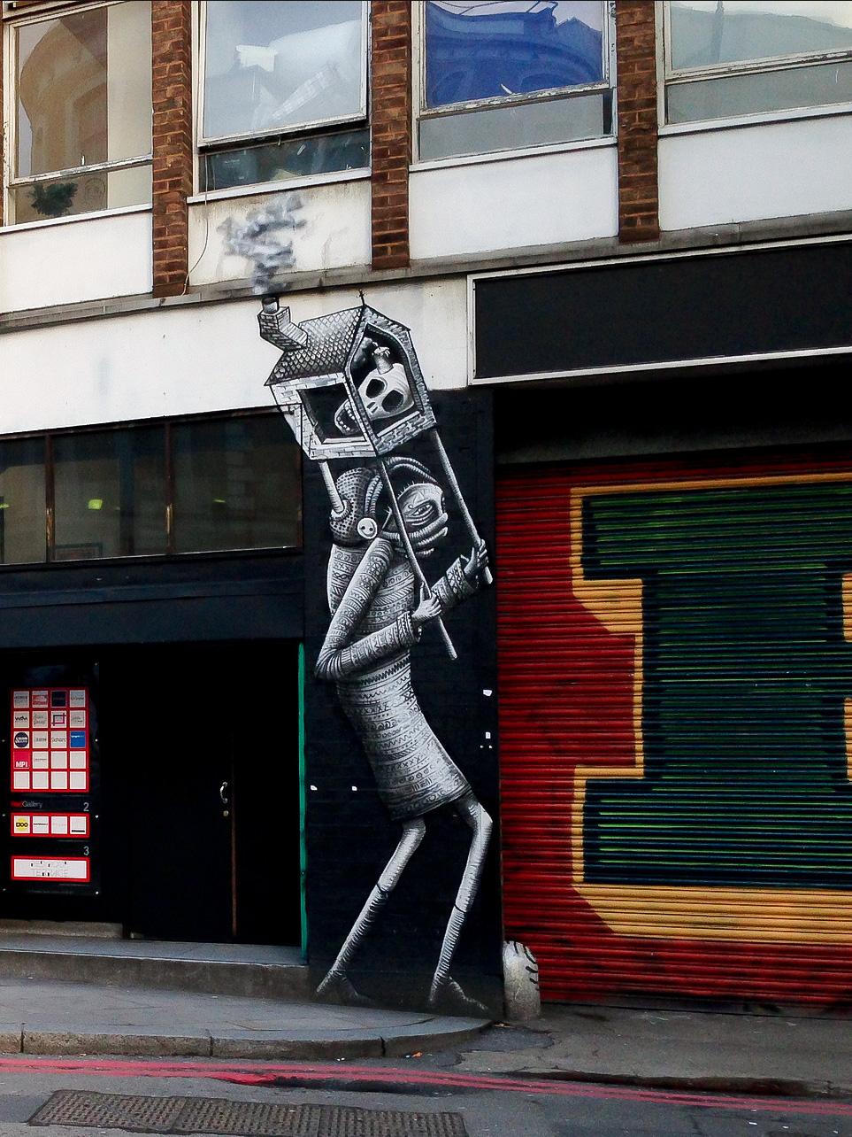 Phlegm's black and white figures in London.