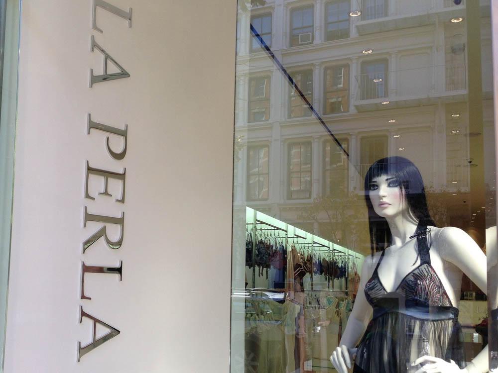 Window at La Perla in New York. Photo by alphacityguides.