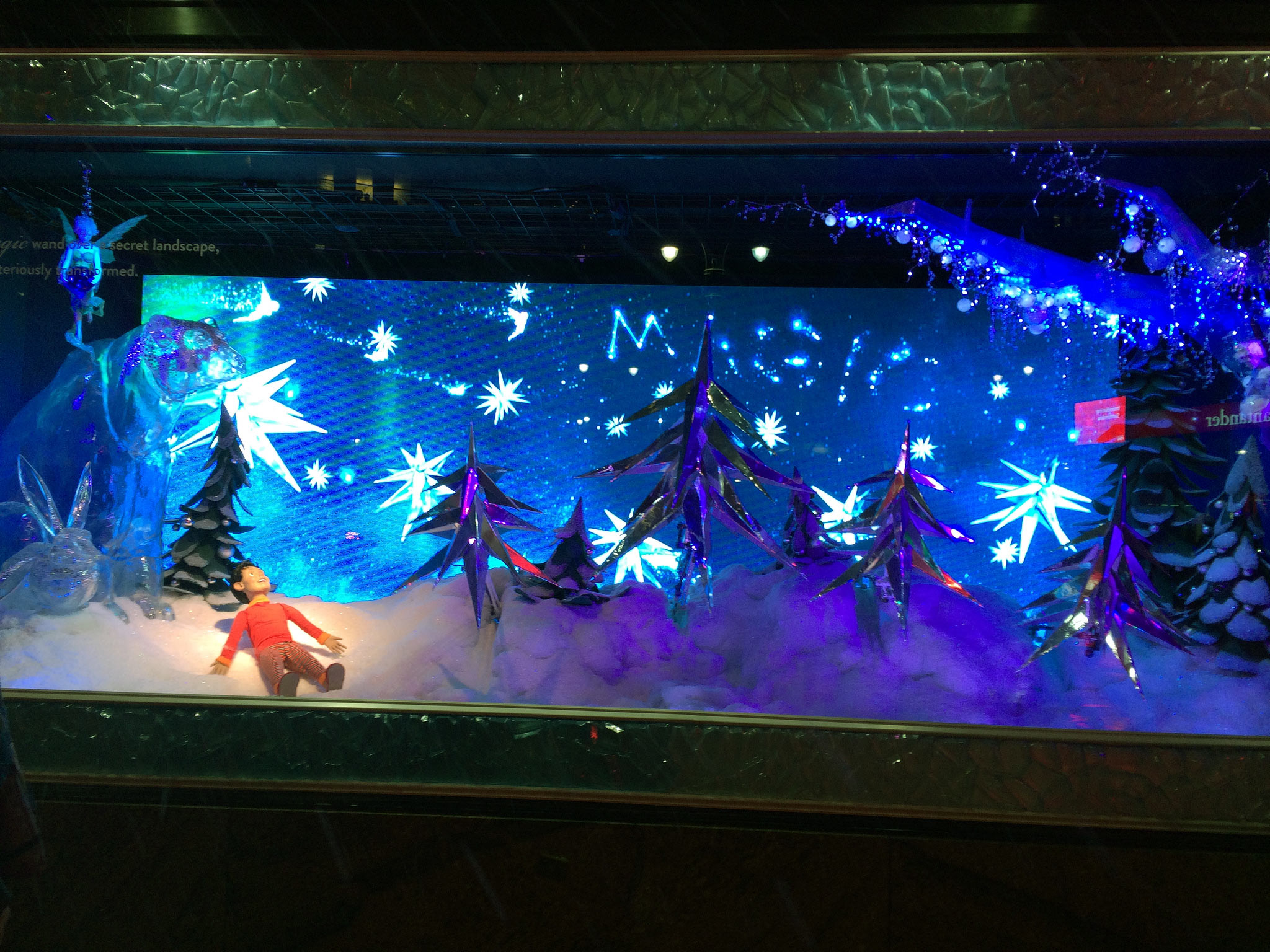 Macy's interactive holiday window display in New York.