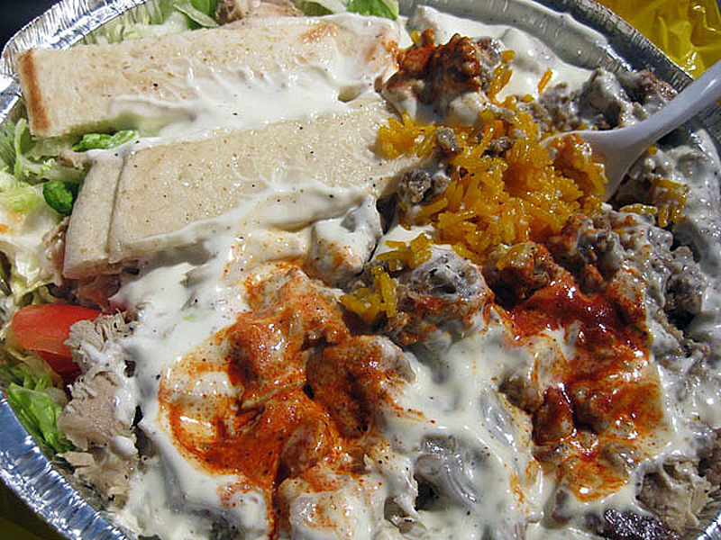 "Lamb, chicken and rice at Halal Guys in New York. Photo by <a href=""http://www.flickr.com/photos/mesohungry/3461573602/"">jasonlam</a>"