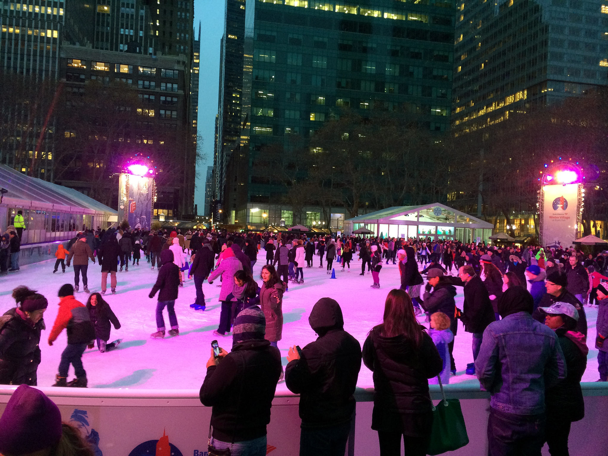 Ice Skating at Bryant Park in New York.