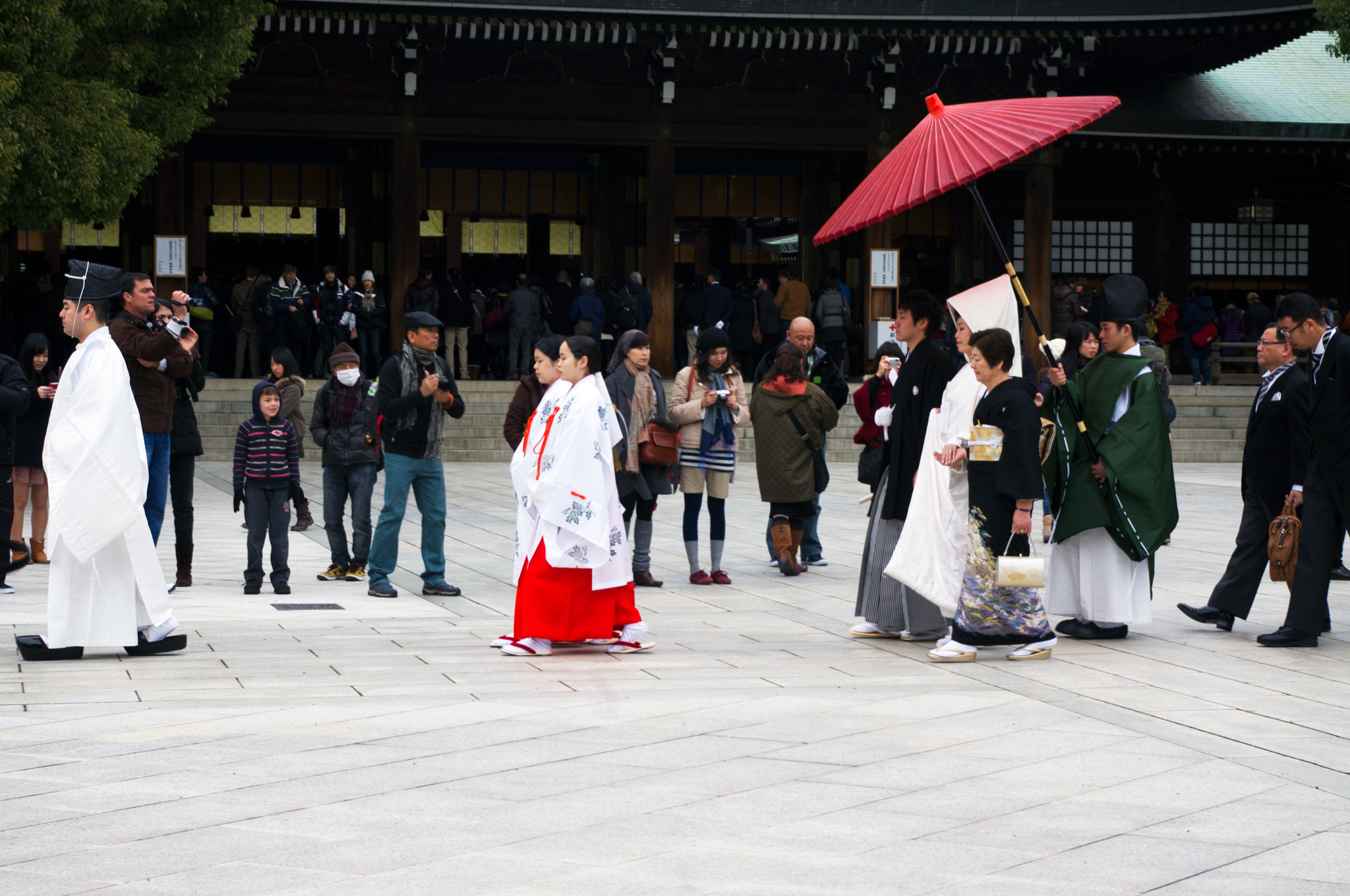Traditional Japanese wedding ceremony at the Meiji Shrine in Tokyo.