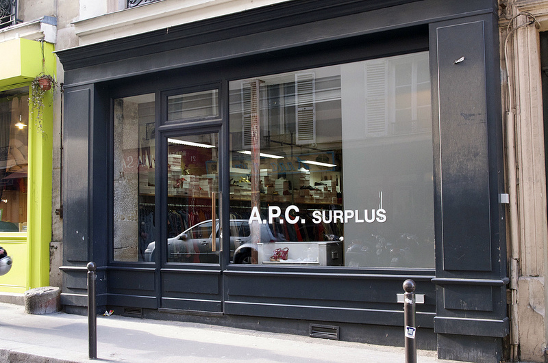 Store front at A.P.C. Surplus in Paris. Photo by alphacityguides.