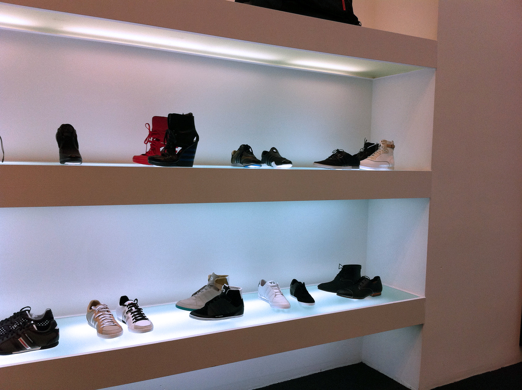 Shoe display at Y-3 in New York. Photo by alphacityguides.