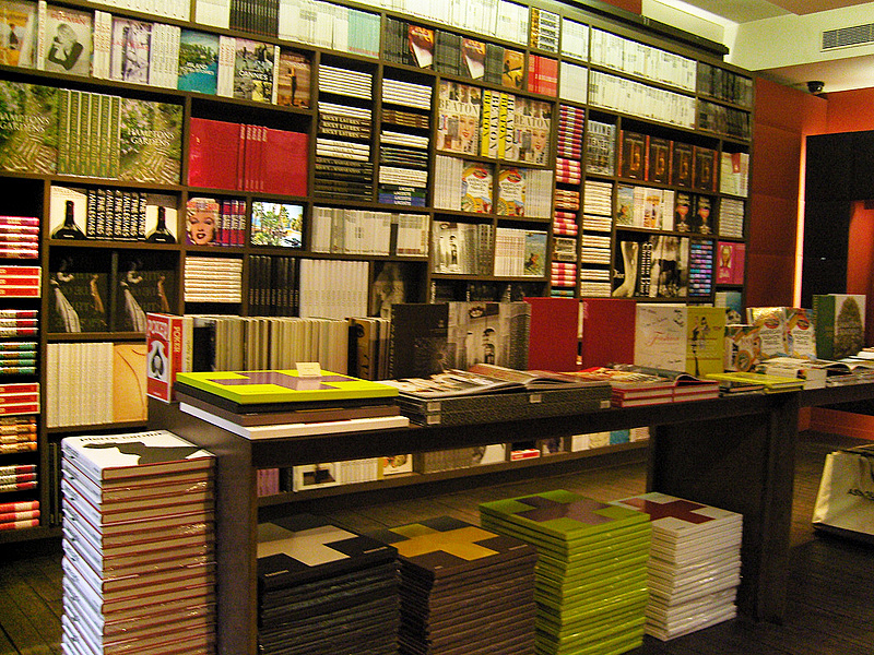 Book wall display at Assouline in Paris. Photo by alphacityguides.