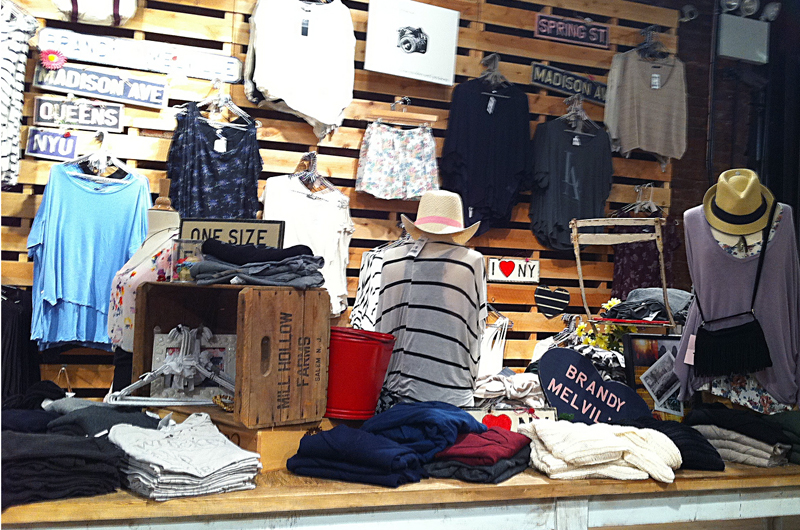 Fashion display inside Brandy Melville in New York. Photo by alphacityguides.