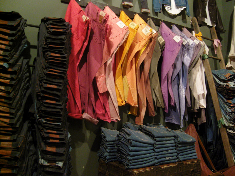 Colored denim display inside Jean Shop in New York. Photo by alphacityguides.
