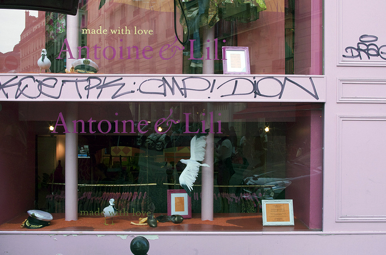 Store front at Antoine et Lili in Paris. Photo by alphacityguides.