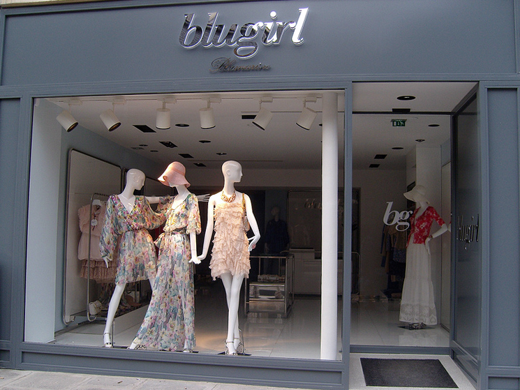 Store front at Blugirl in Paris. Photo by alphacityguides.