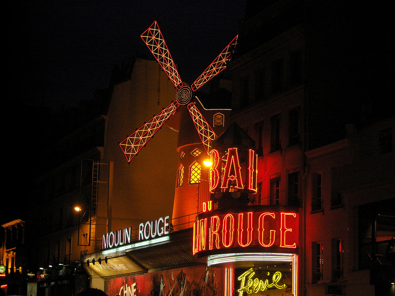 Outside the Moulin Rouge in Paris. Photo by alphacityguides.