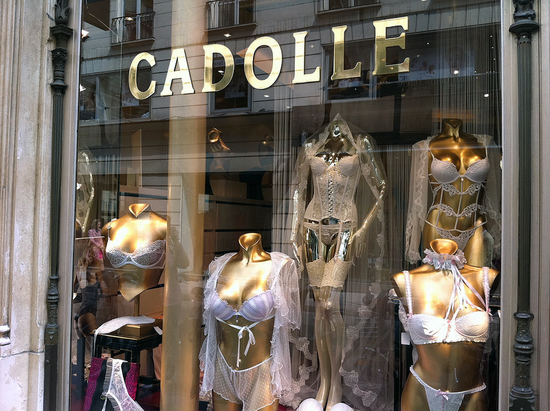 Store front at Cadolle in Paris. Photo by alphacityguides.