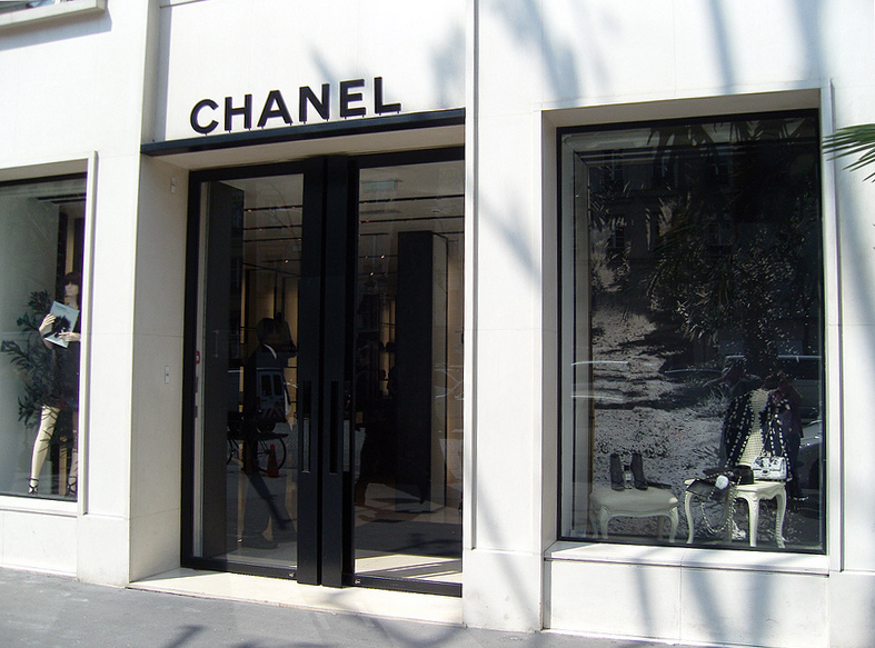 Store front at Chanel in Paris. Photo by alphacityguides.