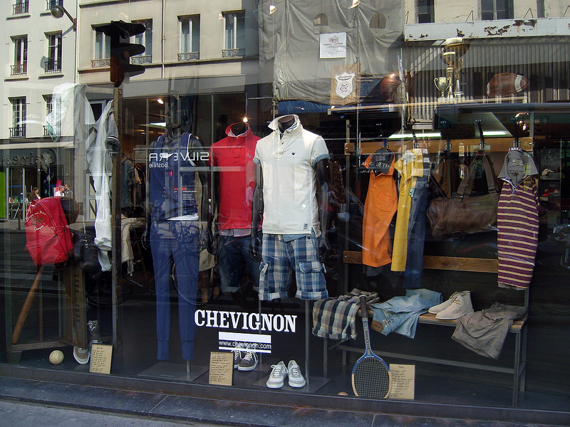 Store front at Chevignon in Paris. Photo by alphacityguides.