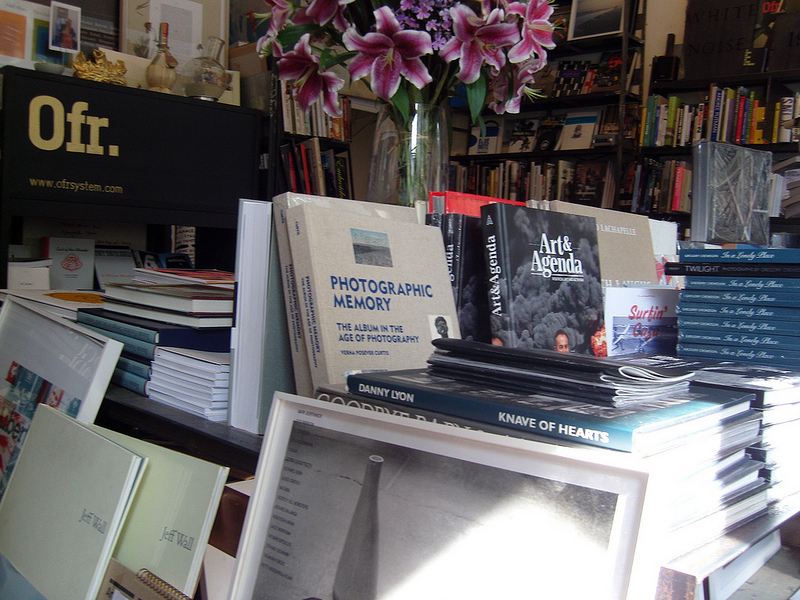 Book display at Ofr in Paris. Photo by alphacityguides.