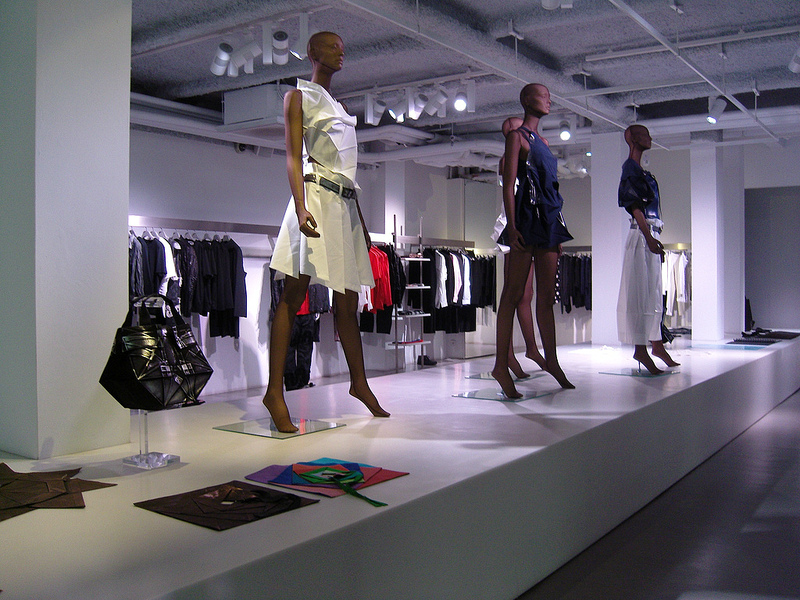 Fashion display at Issey Miyake in Paris. Photo by alphacityguides.