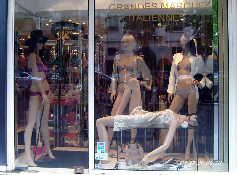 Window display and store front at O Caprices de Lili in Paris. Photo by alphacityguides.