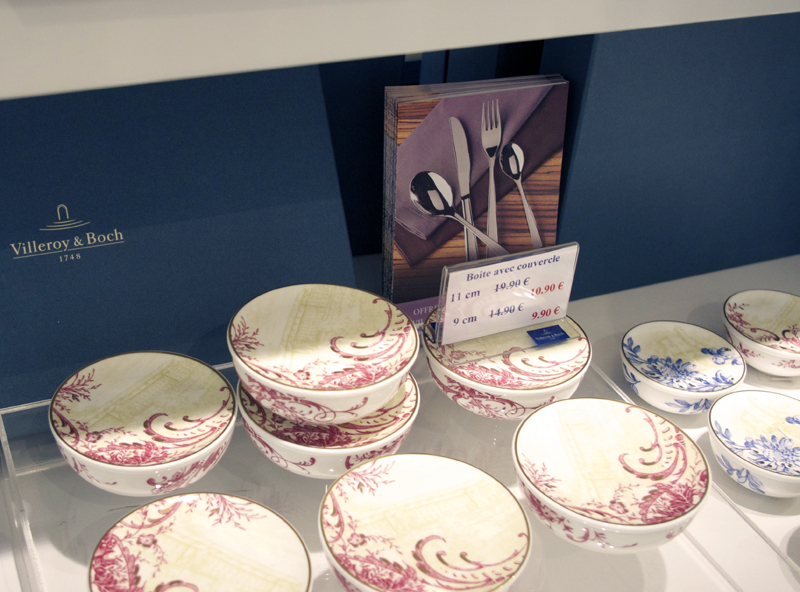 Dishes at Villeroy & Boch in Paris. Photo by alphacityguides.