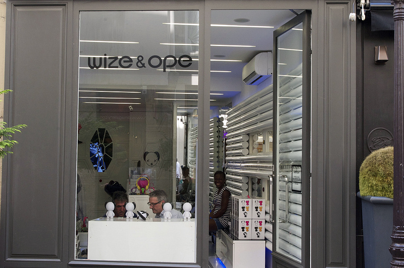 Store front at Wize & Ope in Paris. Photo by alphacityguides.