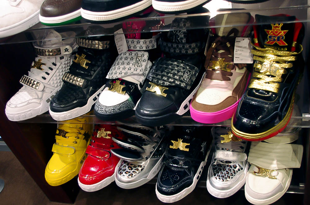 Sneaker display inside Kicks Lab in Tokyo. Photo by alphacityguides.