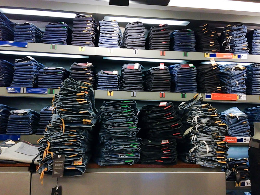 Denim wall at G-Star Raw in London. Photo by alphacityguides.