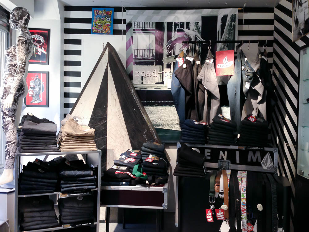 Fashion display inside Volcom in London. Photo by alphacityguides.