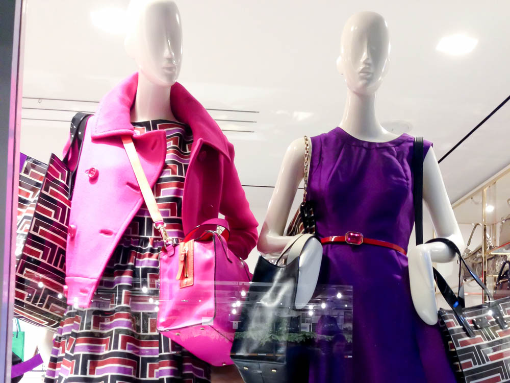 Colorful coats and dresses at Kate Spade in London. Photo by alphacityguides.