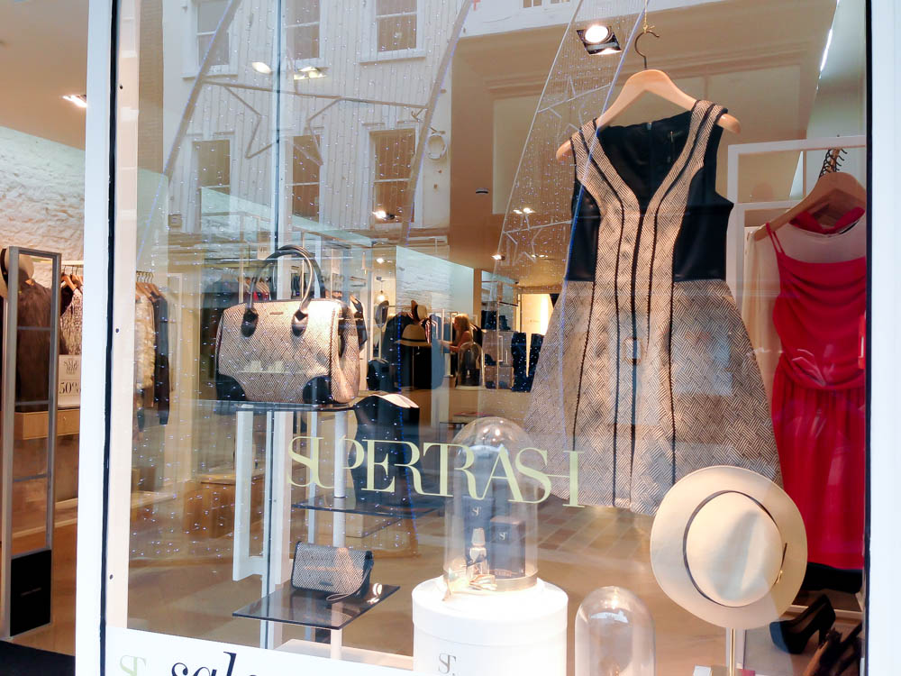 Fashion window display at SuperTrash in London. Photo by alphacityguides.