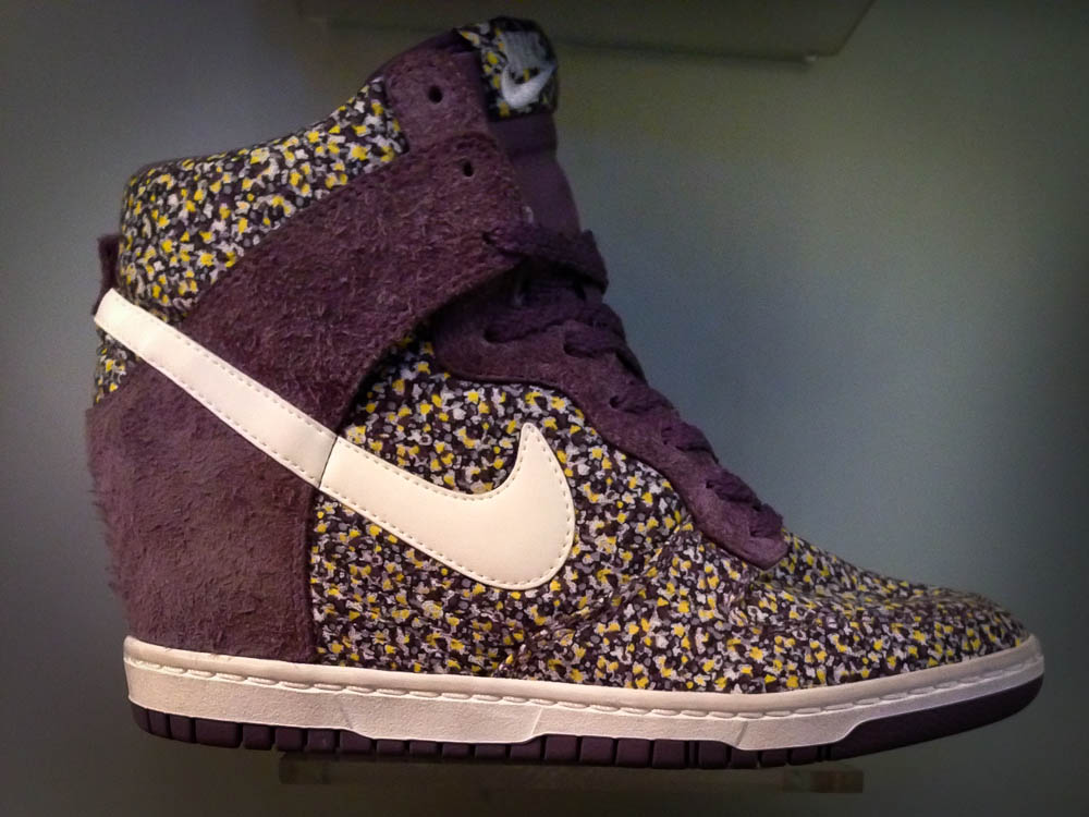 e926d69d5e97 Nike Dunk Sky High Liberty print wedge heel sneaker at Offspring in London.  Photo by