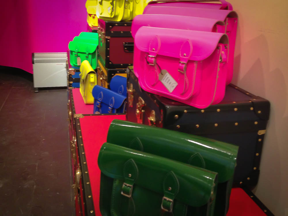 Accessory display at The Cambridge Satchel Company in Covent Garden. Photo by alphacityguides.