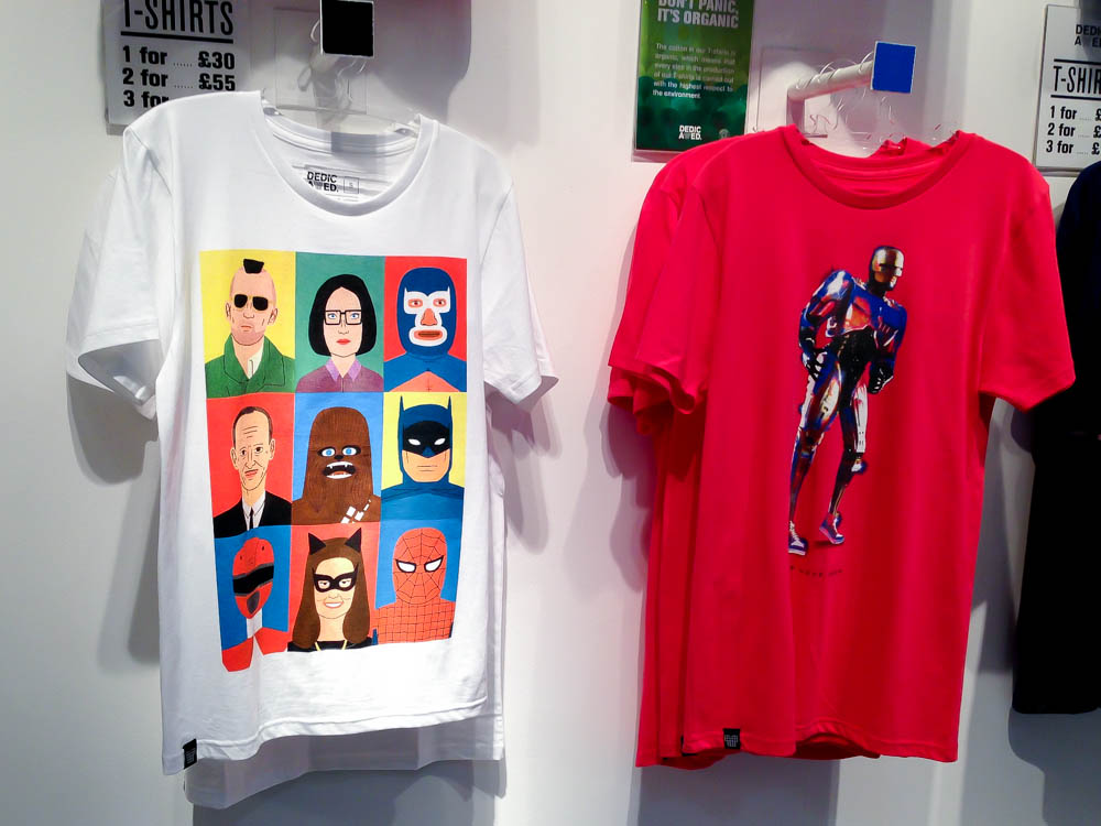 Tee display inside the TShirt Store in London. Photo by alphacityguides.