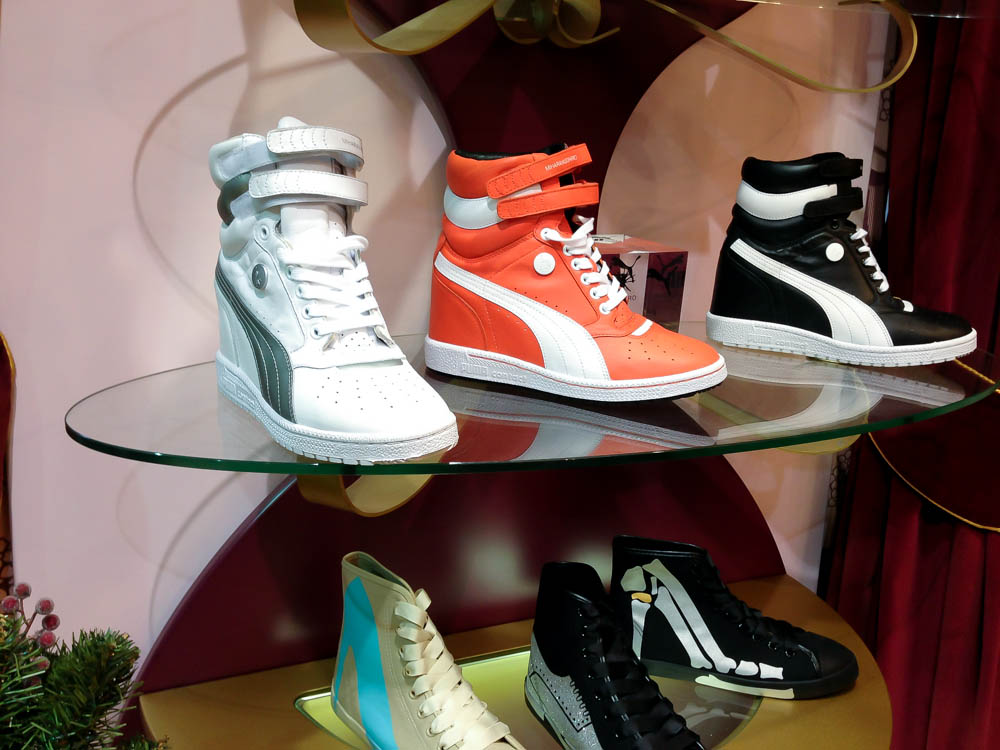 Sneaker display at Poste Mistress in London. Photo by alphacityguides.