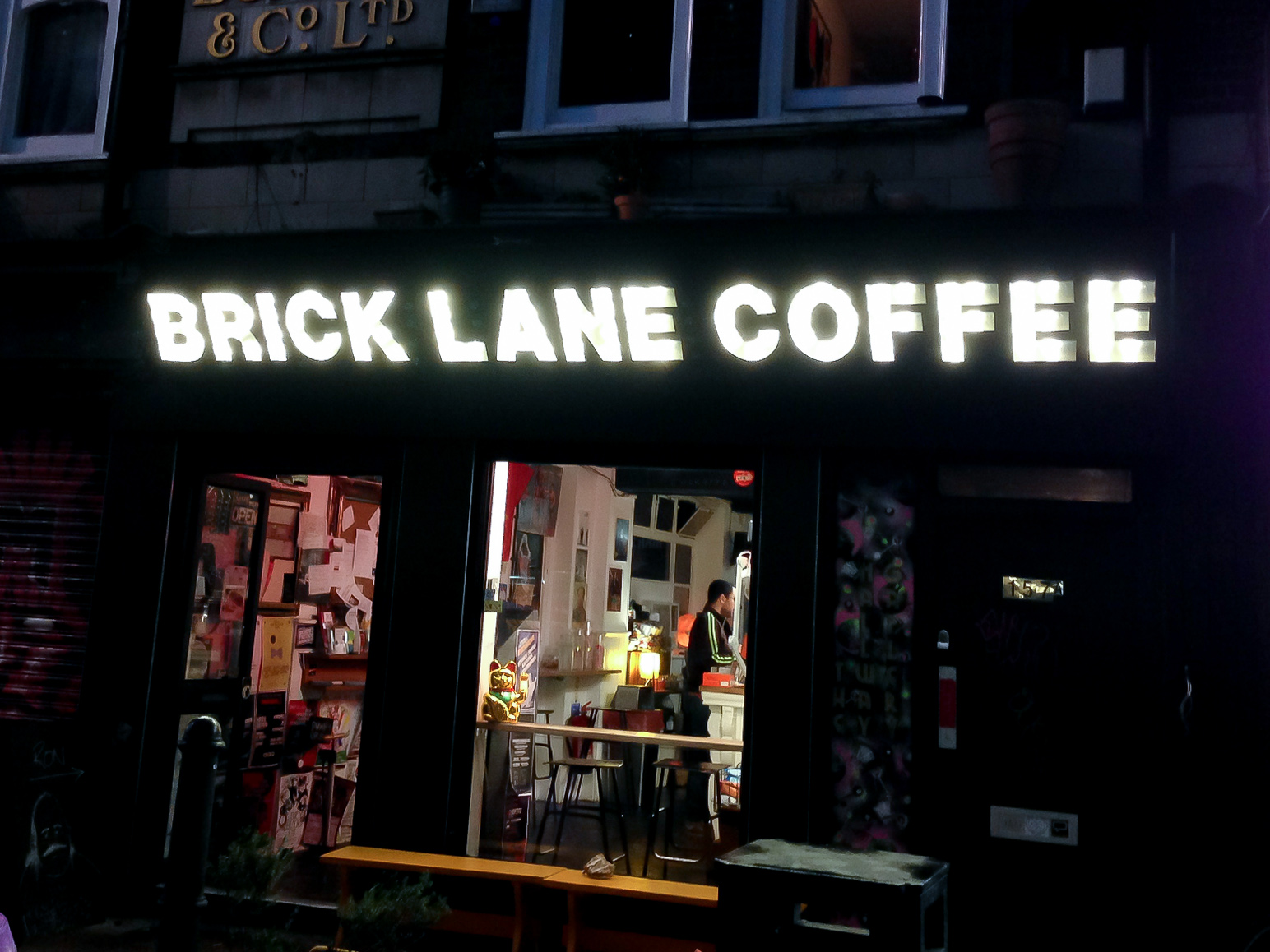 Brick Lane Coffee in London. Photo by alphacityguides.