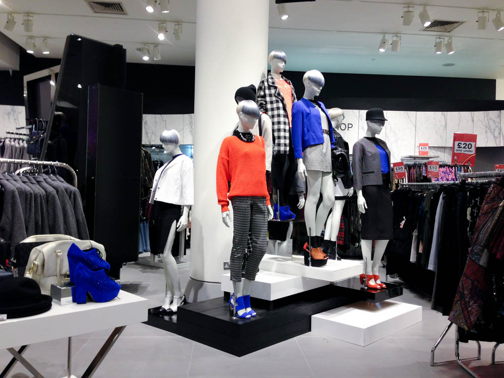Topshop display at Selfridges on Oxford Street in London. Photo by alphacityguides.