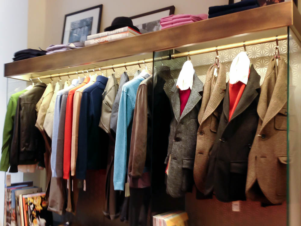 Fashion display at Officina Slowear in London. Photo by alphacityguides.