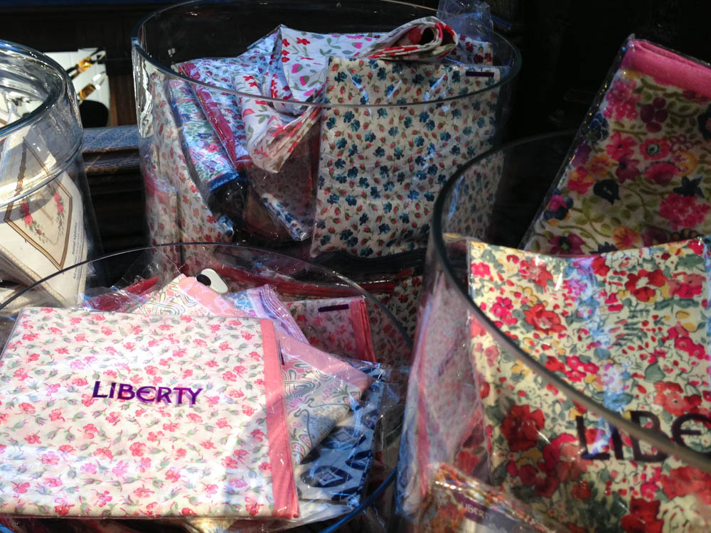 Liberty print handkerchiefs at Liberty London. Photo by alphacityguides.