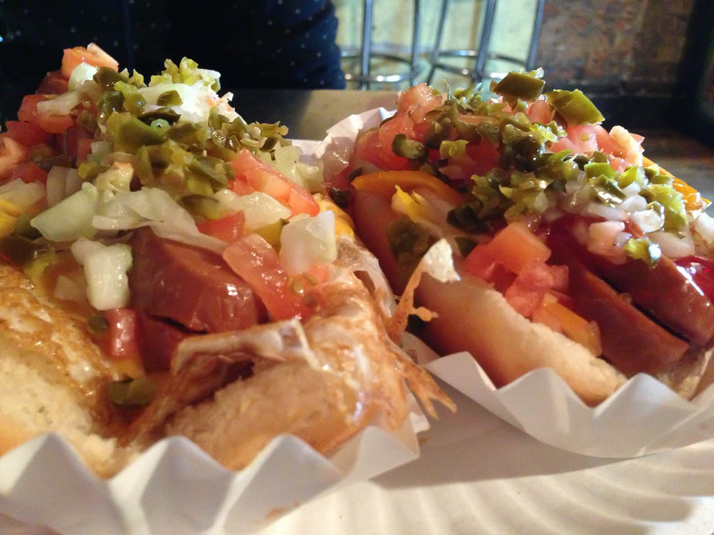 Hot dogs at Crif Dogs New York. Photo by alphacityguides.