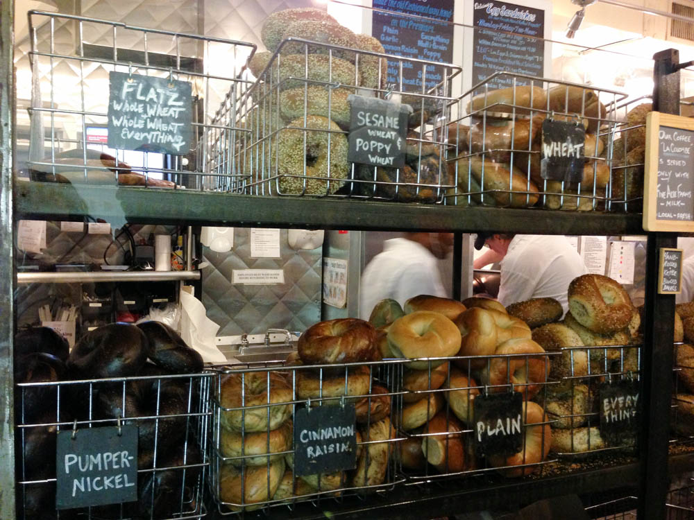 Bagel selection at Murray's Bagel in New York. Photo by alphacityguides.