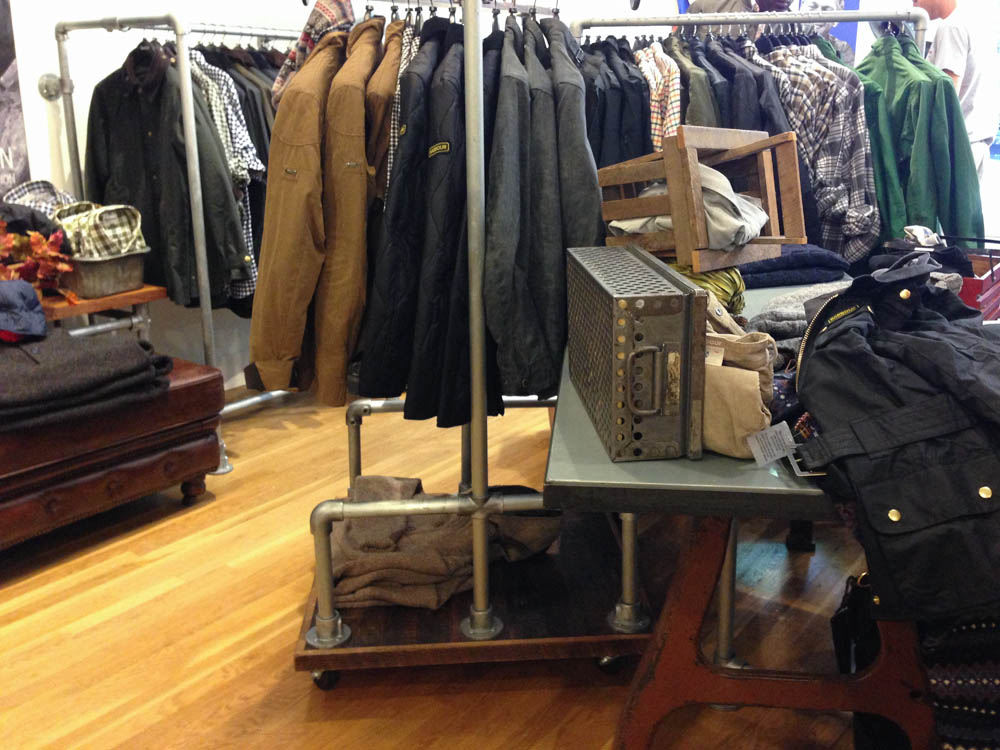 Fashion display inside Barbour in New York. Photo by alphacityguides.