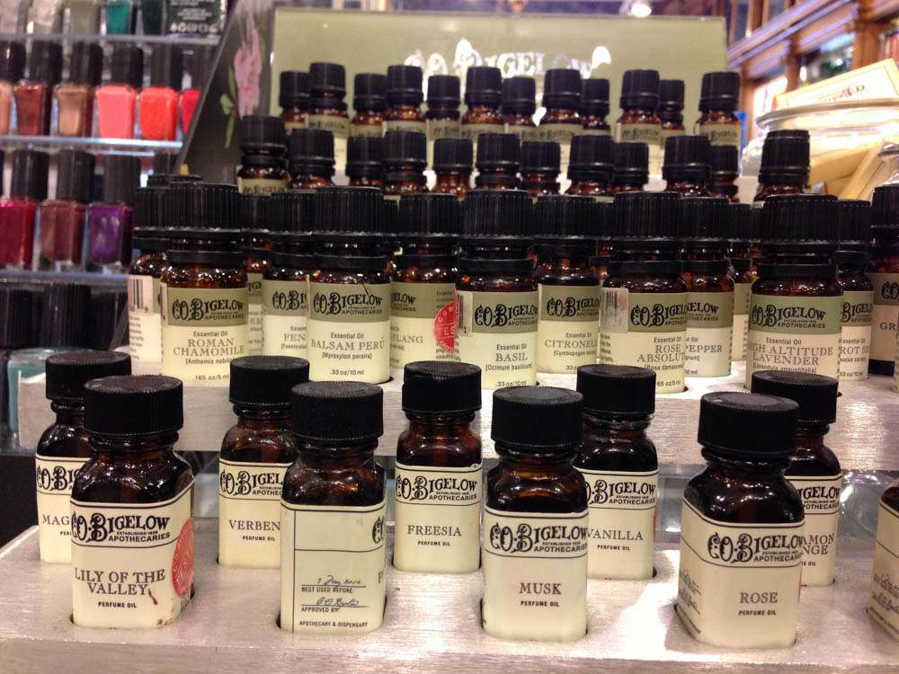 Essential oils at C.O Bigelow in New York. Photo by alphacityguides.
