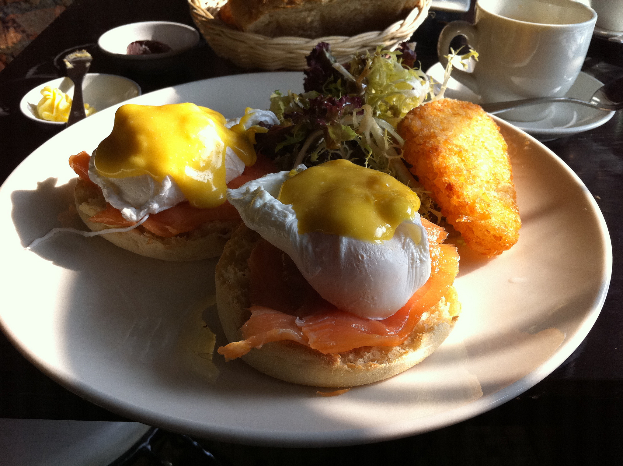 Salmon eggs benedict at Brunch Club & Supper in Hong Kong.