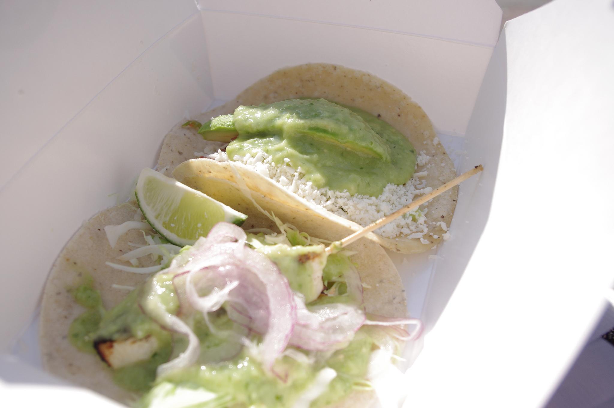 Fish & Veggie tacos at La Esquina Corner Deli in New York. Photo by alphacityguides.
