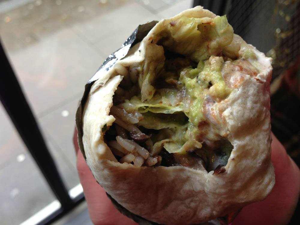 Prawn burrito at Chilango Burrito in London. Photo by alphaciyguides.