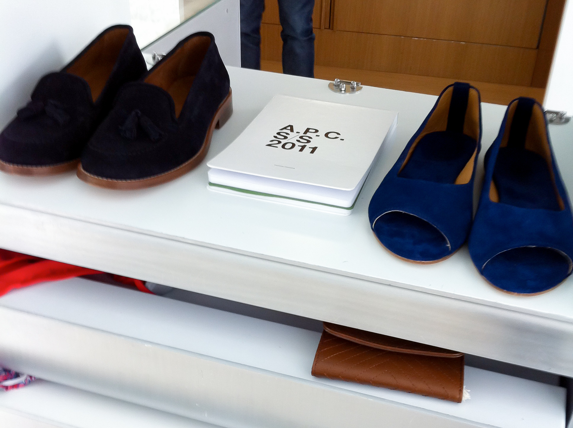 Accessory display at A.P.C. store in Paris. Photo by alphacityguides.