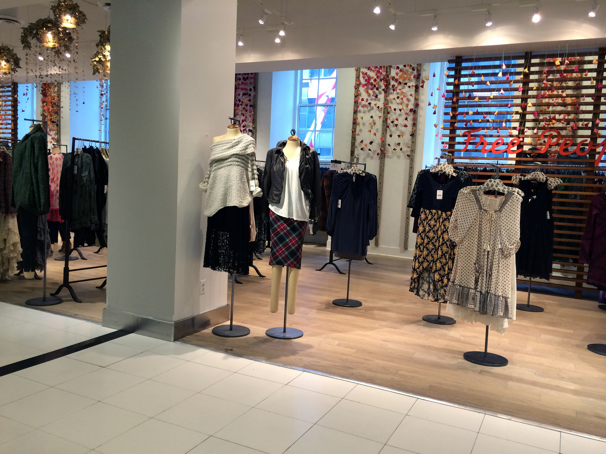 Free People fashion display at Bloomingdale's in New York. Photo by alphacityguides.