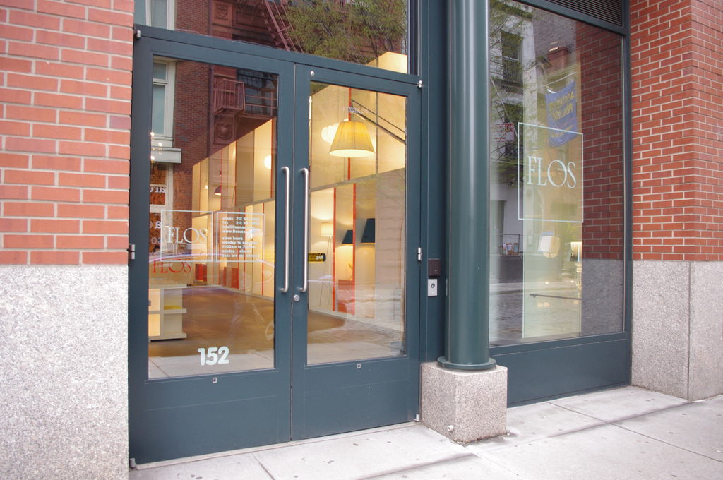 Storefront of Flos in New York. Photo by alphacityguides.
