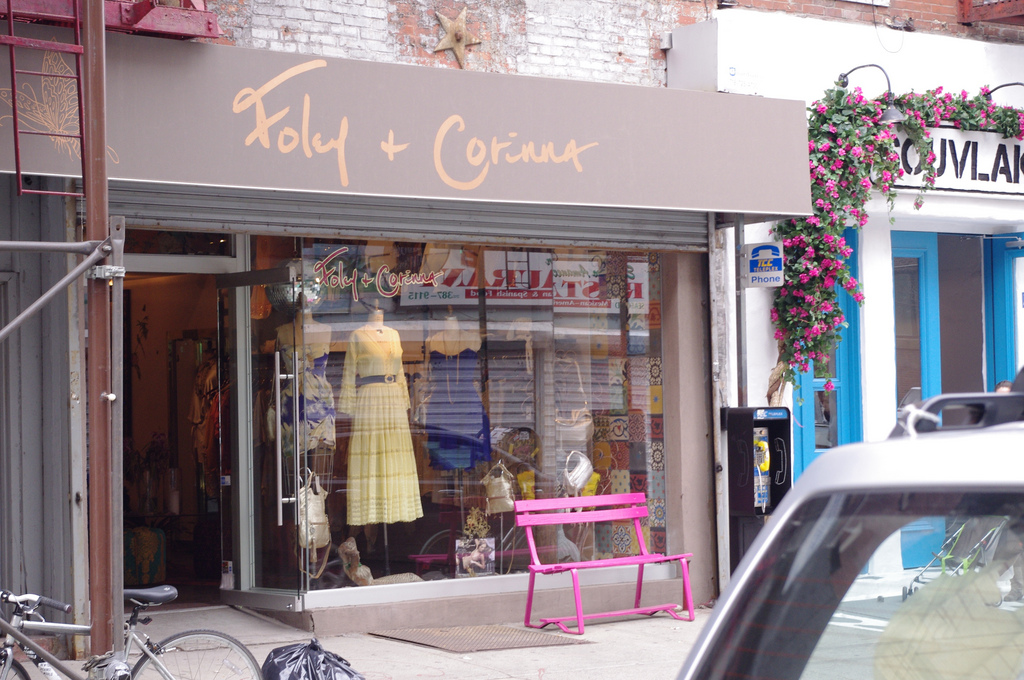 Storefront at Foley and Corinna in New York. Photo by alphacityguides.