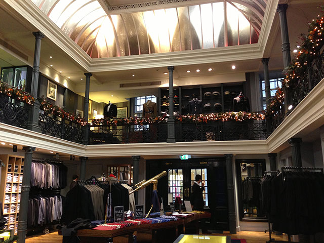 Inside Gieves & Hawkes on Savile Row in London. Photo by alphacityguides.